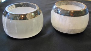 Round Fossil & Selenite Candle Holders $44.95