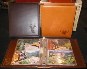 """Medium Albums, 8 1/2""""x 9 1/2"""" Holds 200 photos $195 Saddle $135 Other leathers"""