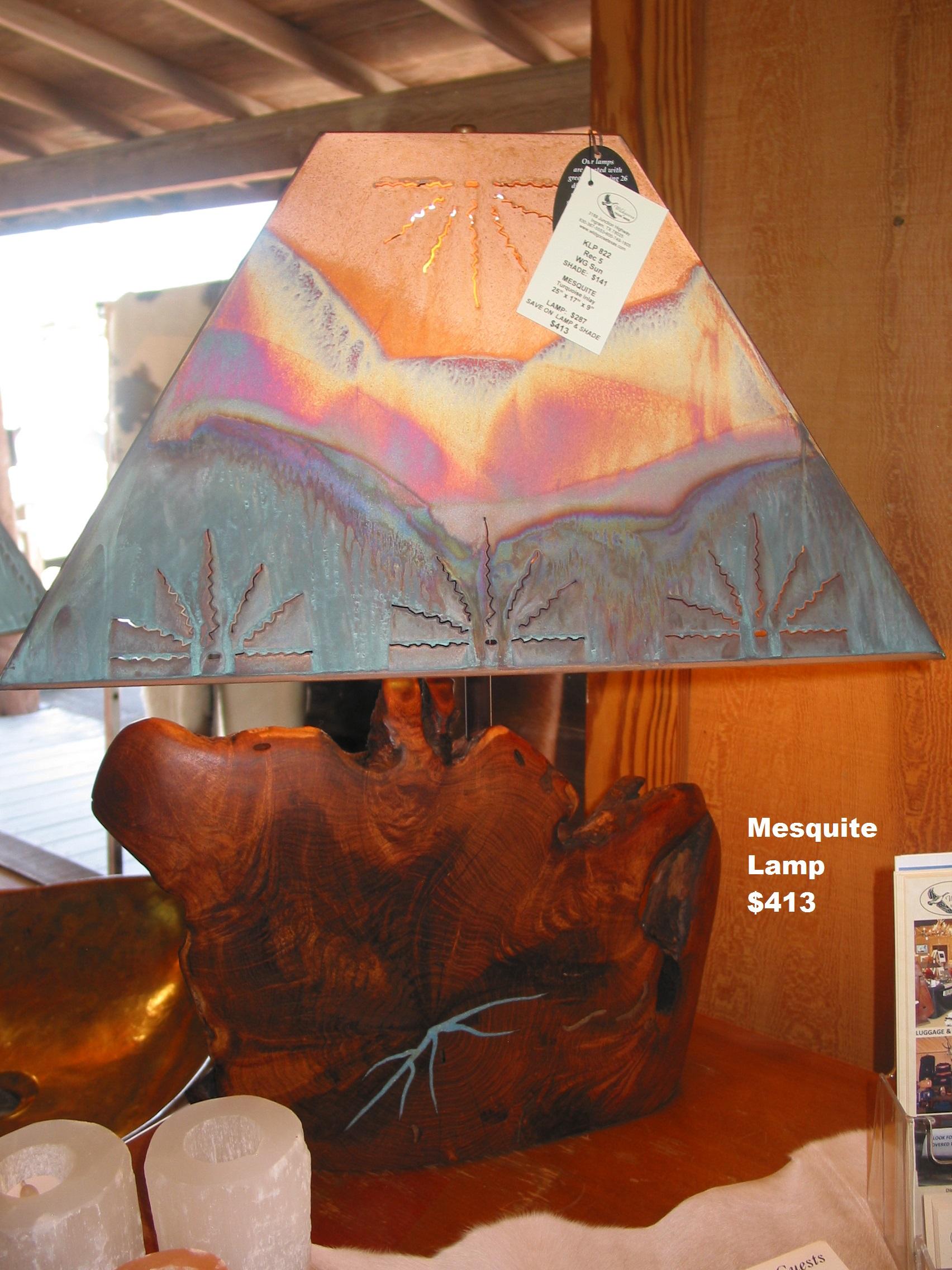Custom Mesquite Lamps With Copper Shades Wildgoose Mfg